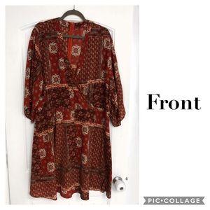 Vintage Kimono Sleeve Wrap Front Mini Dress 3x